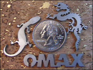 Omax waterjet minijet allows cutting of small, precise shapes out of thin exotic materials